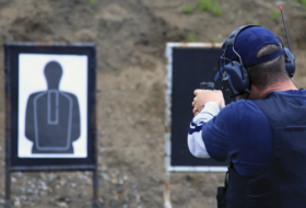 Man at a firing range