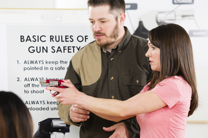 Instructor teaching gun safety